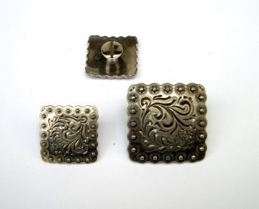 Antique Nickel Square Floral Berry Concho with Post
