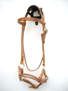 Side Pull - DOUBLE ROUND LEATHER NOSEBAND - Harness Kopfstück