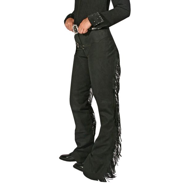 Washable Suede Horse Show Western Chaps Black