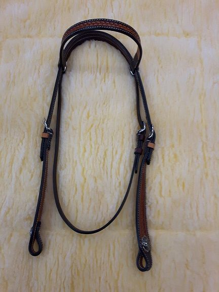 Two Tone Headstall Basked Tooled
