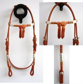 """EE Tack"" - Kopfstück - Harness - Round End's - Silver Pipe's / Rawhide - Fut. Stirnband"