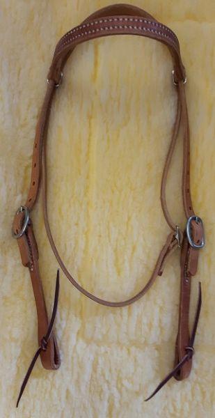 H.Oak Kopfstück gerades Stirnband mit weissen Nähten Backenende mit Lederknoten